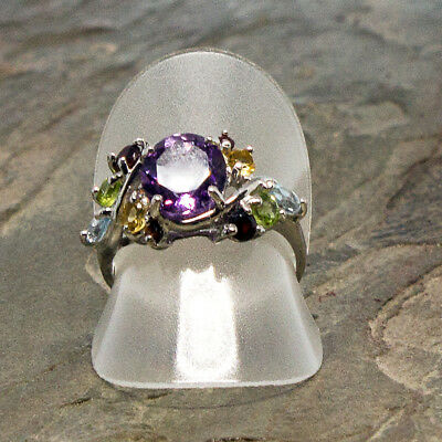 Multi Stone Amethyst Sterling Silver Ring
