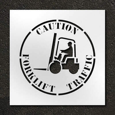 RAE Polyethylene Stencil,Caution Forklift Traffic,24 in, STL-116-12415, Clear