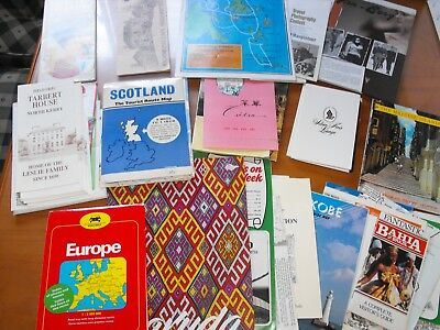 Huge Lot Vintage Travel Guides Booklets Brochures Maps Scotland Europe & More!