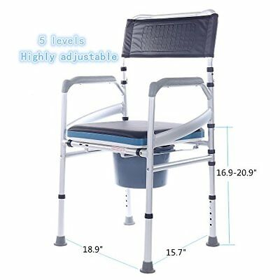 SUKONG Aluminum Portable Bedside Commode Shower chair With Toilet Style Seat and