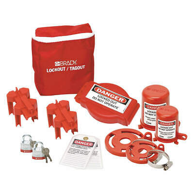 BRADY Portable Lockout Kit,Filled,Valve,8, 99681, Red