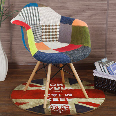 2 x Patchwork Fabric Armchair Tub Padded Dining Chairs Reto Vintage Eiffel Style