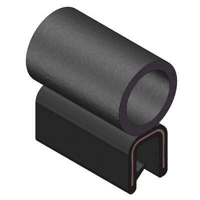 TRIM LOK INC EPDM Trim Seal,Alum Clip,0.36 In W,100 Ft, 6100B3X3/16C-100, Black