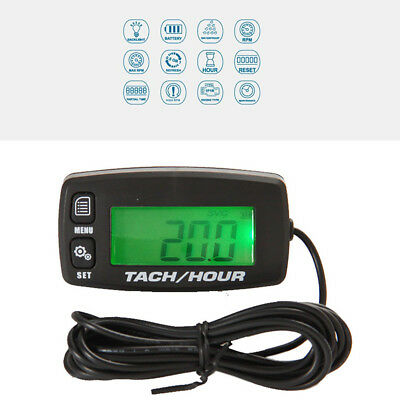 Backlight Digital Resettable Tach Hour Meter Tachometer For Motorcycle Generator