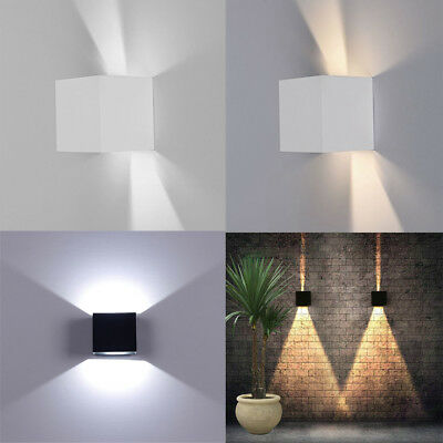 601b0deea0ce 12W LED Wall Light Up Down Cube Sconce Lamp Industrial Cafe Deco Black White  Lot