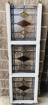 3 Mid century stained glass panels orange and yellow with beaded borders.