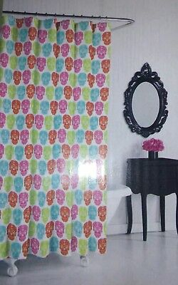 Betsey Johnson Fabric Shower Curtain Skull Party Blue Multi Color 72 X