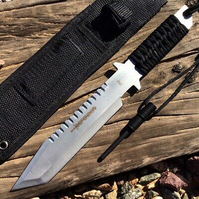 "Defender 11"" Silver Full Tang Hunting Knife With Fire Starter & Sheath"