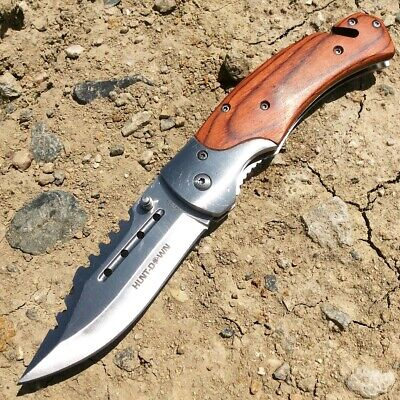 """Hunt-Down 8"""" Spring Assisted Tactical Rescue Pocket Knife - Wood Handle"""