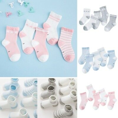 5 Pairs Cute Baby Toddler Girl Boy Warm Soft Ankle Socks Non-Slip Cotton Socks