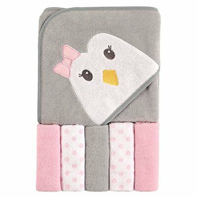 Hooded Towel and Washcloths Pink Girls Penquin Baby Shower Gift Luvable Friends