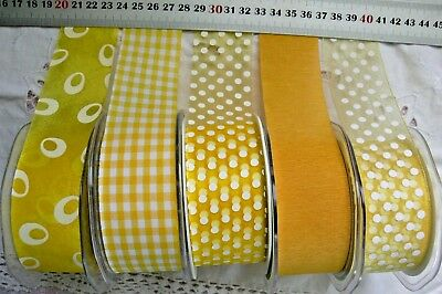 YELLOW & WHITE Mix Tones Polyester 38mm Wide 2 & 3 Metres 5 Design Styles Choice