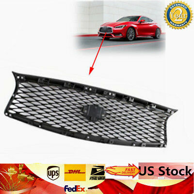 Black Painted Glossy Front Mesh Upper Grill Grille fits for 14-17 Infiniti Q50