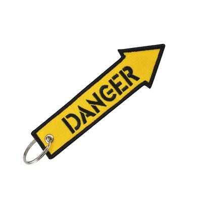 Yellow Danger Keychain Keyring Embroidery Luggage Tag Motorcycle Key Chain-Rin_