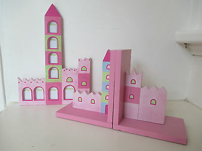 3 Piece Castle Set: Castle Wooden Bookends and Matching Castle Picture Frame