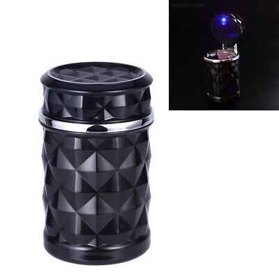Universal ABS Mini Car Ashtray Cigarette Cylinder Cup Holder With Blue LED Light