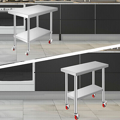 3 Size Stainless Steel Prep Work Table + 4 Casters Bar worktable Restaurant