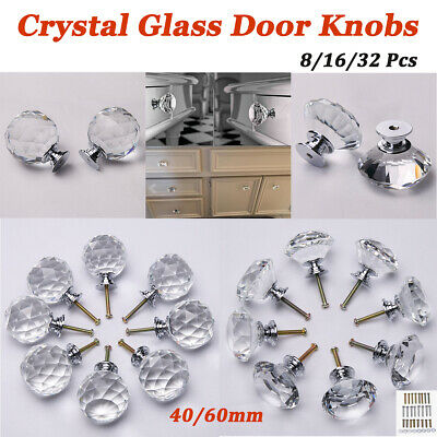 Crystal Glass Door Knob K9 Drawer Kitchen Cupboard Cabinet Handles 40mm 60mm
