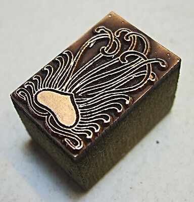 "Art Nouveau ""romantic Heart"" Printing Block."