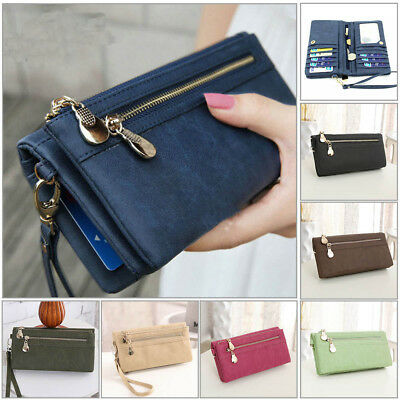 Girl Women Zipper PU Leather Clutch Wallet Long Card Holder Purse Handbag Bag AU