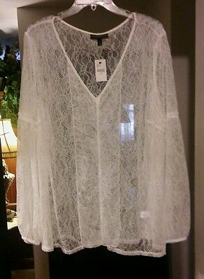 NEW NWT LANE BRYANT ivory long sleeve lace top. Plus size 22 24 ... 4f2129832