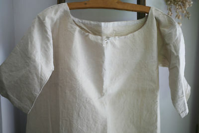 Antique French NIGHTSHIRT PURE LINEN natural tone c1850