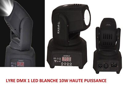 LYRE À 1 LED BLANCHE DE 10W HAUTE PUISSANCE DMX MOVING HEAD  PrOJECTEUR LED