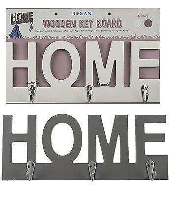 Home Key Holder Wall Mounted Ring Hooks Wooden Board Hanger Vintage Shabby Chic