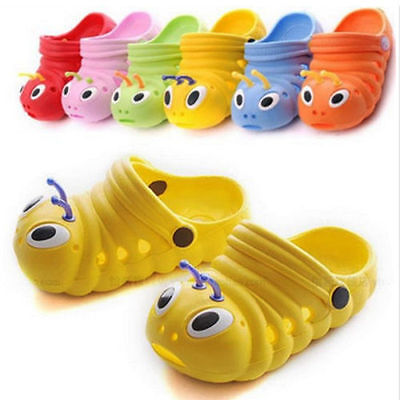 Girls Boys Toddler Kids Croc Style Sandals Slippers Beach Caterpillar Shoes