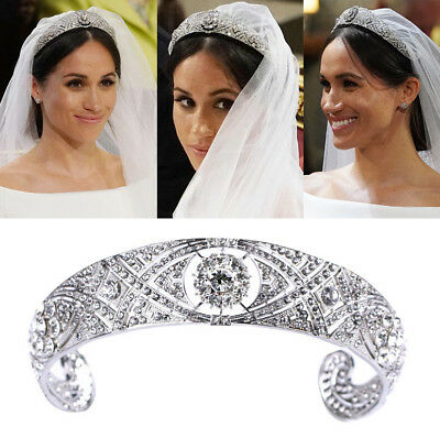 Rhinestone Crystal Meghan Wedding Crown Queen Mary Bandeau Tiara