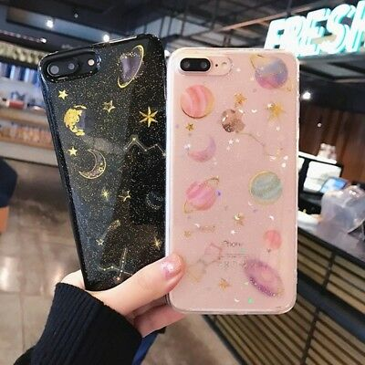XHCOMPANY Charm Galaxy Planet Space Glitter TPU Phone Case for iphone 7 7Plus X