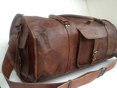 Mens Genuine Goat Leather Large Capacity Travel Luggage Bag Duffle Gym Tote Bags