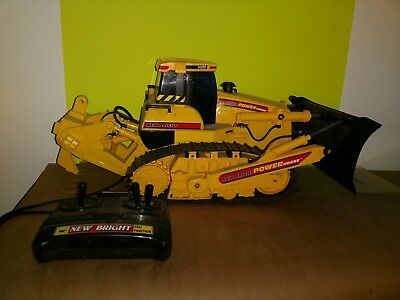 Vintage New Bright POWER HORSE WIRED REMOTE CONTROL BULL DOZER  (SOLD AS IS)