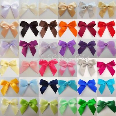 Satin Ribbon Bows, Self Adhesive Large 5cm, Packs of 6, 12, Wedding Bows, Crafts