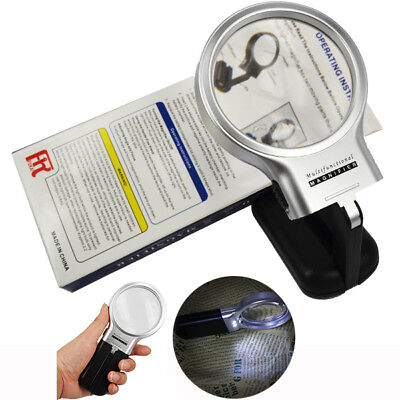Hands Free Magnifier With Led Light Jewellers Magnifying Glass 3X Reading Lens