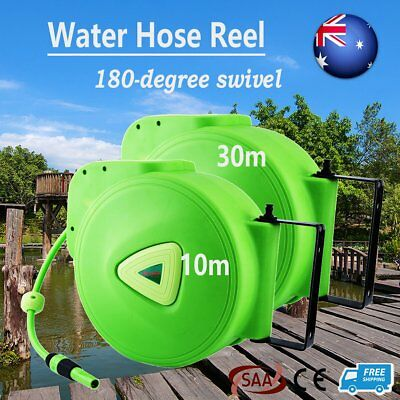 Retractable Auto Rewind Water Hose Reel Garden Tool Wall Mount Quick Release BP