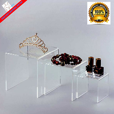 "Business Party Countertop Display Stand 3 Clear Acrylic Riser Set Showcase3""4""5"""