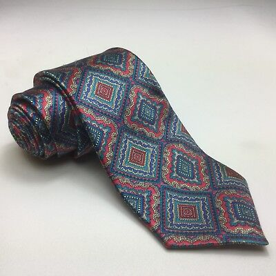 Classic English Made Silk Tie HARDY AIMES Mens Neck Tie Blue Pink Silver Diamond