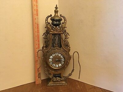 Italian Imperial  Heavy Brass Mantel Clock for Repair or Parts