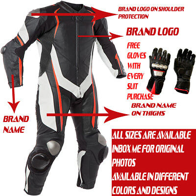 Motorbike Motorcycle Leather Racing 1 & 2 Piece Suit Custom / With Free Gloves