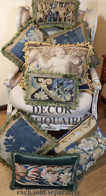 French Aubusson  Pillows C1700 Verdure Tapestry Cushions  Passementerie  TWO