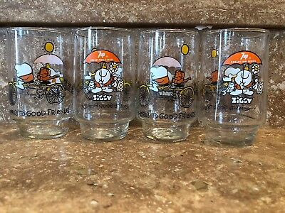 """1977 Ziggy 7Up Collector Series """"Here's To Good Friends"""" 4 Glasses"""
