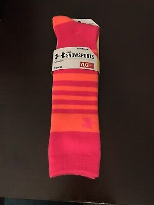 Under Armour Girls Snowsports Athletic Socks Neon Orange Pink Large (Youth 1-4)