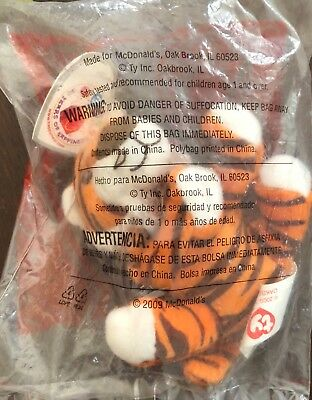 Oasis The Tiger Teenie Beanie Baby No. 28 McDonald's Toy 2009