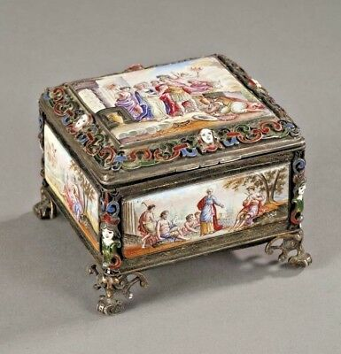 Amazing Antique  Silver Enamel Pictorial Box Vienna 19th Century  Marked Rare