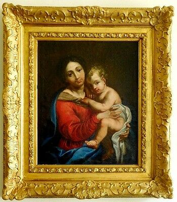 18th Century Amazing Antique Oil Painting  Virgin and Child French