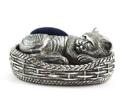 Antique Victorian Style Sleeping Cat In Basket Pin Cushion 925 Silver Plate