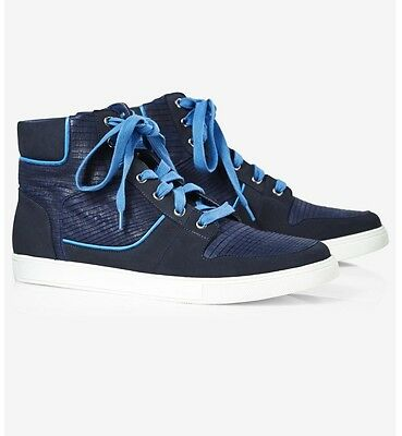 ac6a5118be2278 Express Mixed Finish High Top Sneaker Blue Mens boots New  128 New Size 11