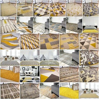 Modern Yellow Ochre Mustard Gold Living Room Rugs Soft Non Shed M Size Area Rug