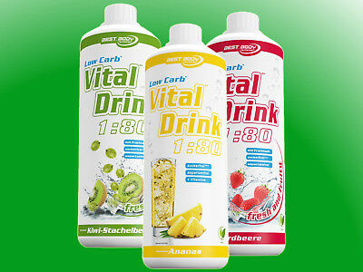 (10,33€/l) Best Body Nutrition Low Carb Vital Drink Mineraldrink  - 3 Flaschen